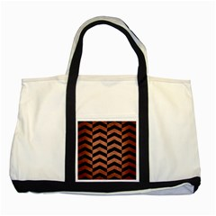 Chevron2 Black Marble & Copper Brushed Metal Two Tone Tote Bag by trendistuff