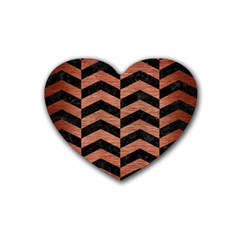 Chevron2 Black Marble & Copper Brushed Metal Rubber Coaster (heart) by trendistuff