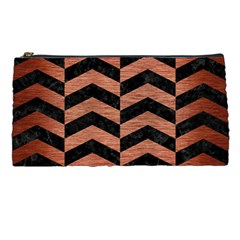 Chevron2 Black Marble & Copper Brushed Metal Pencil Case by trendistuff