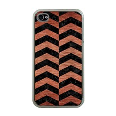 Chevron2 Black Marble & Copper Brushed Metal Apple Iphone 4 Case (clear) by trendistuff