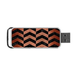 Chevron2 Black Marble & Copper Brushed Metal Portable Usb Flash (one Side) by trendistuff