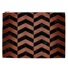 Chevron2 Black Marble & Copper Brushed Metal Cosmetic Bag (xxl) by trendistuff