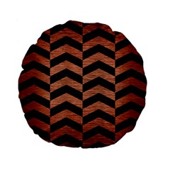 Chevron2 Black Marble & Copper Brushed Metal Standard 15  Premium Flano Round Cushion  by trendistuff