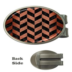 Chevron1 Black Marble & Copper Brushed Metal Money Clip (oval) by trendistuff