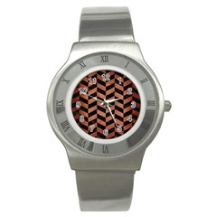 Chevron1 Black Marble & Copper Brushed Metal Stainless Steel Watch