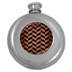 Chevron1 Black Marble & Copper Brushed Metal Hip Flask (5 Oz) by trendistuff