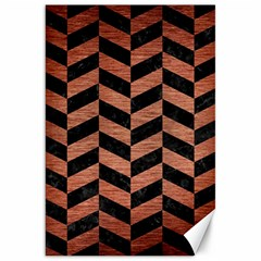 Chevron1 Black Marble & Copper Brushed Metal Canvas 20  X 30