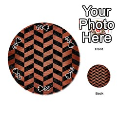 Chevron1 Black Marble & Copper Brushed Metal Playing Cards 54 (round) by trendistuff