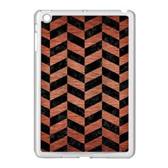 Chevron1 Black Marble & Copper Brushed Metal Apple Ipad Mini Case (white) by trendistuff