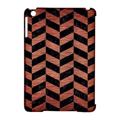 Chevron1 Black Marble & Copper Brushed Metal Apple Ipad Mini Hardshell Case (compatible With Smart Cover) by trendistuff