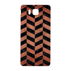 Chevron1 Black Marble & Copper Brushed Metal Samsung Galaxy Alpha Hardshell Back Case by trendistuff