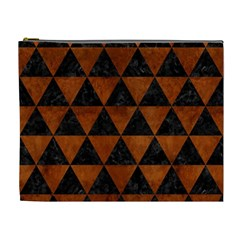 Triangle3 Black Marble & Brown Burl Wood Cosmetic Bag (xl) by trendistuff