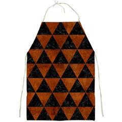 Triangle3 Black Marble & Brown Burl Wood Full Print Apron by trendistuff