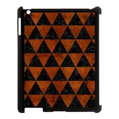 Triangle3 Black Marble & Brown Burl Wood Apple Ipad 3/4 Case (black) by trendistuff