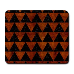 Triangle2 Black Marble & Brown Burl Wood Large Mousepad by trendistuff