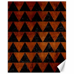 Triangle2 Black Marble & Brown Burl Wood Canvas 16  X 20  by trendistuff