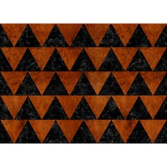 Triangle2 Black Marble & Brown Burl Wood Birthday Cake 3d Greeting Card (7x5) by trendistuff