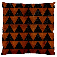 Triangle2 Black Marble & Brown Burl Wood Large Cushion Case (two Sides) by trendistuff