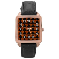Triangle2 Black Marble & Brown Burl Wood Rose Gold Leather Watch  by trendistuff