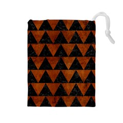 Triangle2 Black Marble & Brown Burl Wood Drawstring Pouch (large) by trendistuff