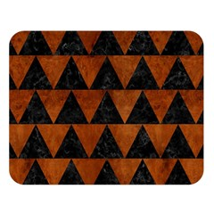 Triangle2 Black Marble & Brown Burl Wood Double Sided Flano Blanket (large) by trendistuff