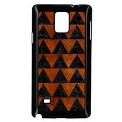 Triangle2 Black Marble & Brown Burl Wood Samsung Galaxy Note 4 Case (black) by trendistuff