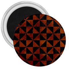 Triangle1 Black Marble & Brown Burl Wood 3  Magnet by trendistuff