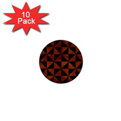 Triangle1 Black Marble & Brown Burl Wood 1  Mini Button (10 Pack)  by trendistuff