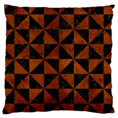 Triangle1 Black Marble & Brown Burl Wood Large Cushion Case (one Side) by trendistuff