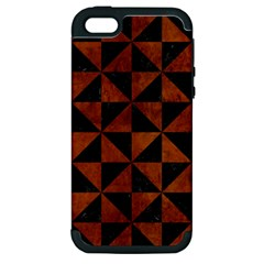Triangle1 Black Marble & Brown Burl Wood Apple Iphone 5 Hardshell Case (pc+silicone) by trendistuff