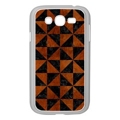 Triangle1 Black Marble & Brown Burl Wood Samsung Galaxy Grand Duos I9082 Case (white) by trendistuff