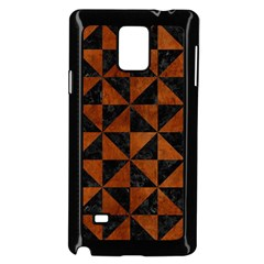 Triangle1 Black Marble & Brown Burl Wood Samsung Galaxy Note 4 Case (black) by trendistuff