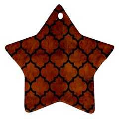 Tile1 Black Marble & Brown Burl Wood (r) Star Ornament (two Sides) by trendistuff