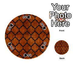 Tile1 Black Marble & Brown Burl Wood (r) Playing Cards 54 (round) by trendistuff