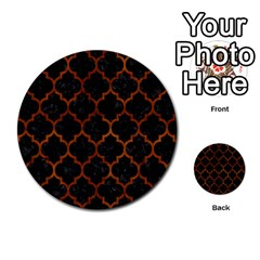 Tile1 Black Marble & Brown Burl Wood Multi Purpose Cards (round)