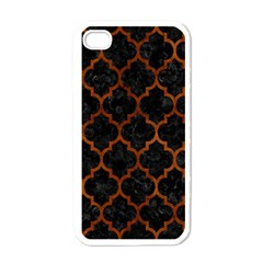 Tile1 Black Marble & Brown Burl Wood Apple Iphone 4 Case (white) by trendistuff