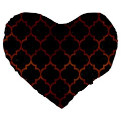 Tile1 Black Marble & Brown Burl Wood Large 19  Premium Flano Heart Shape Cushion by trendistuff