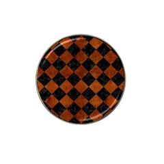 Square2 Black Marble & Brown Burl Wood Hat Clip Ball Marker by trendistuff