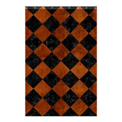 Square2 Black Marble & Brown Burl Wood Shower Curtain 48  X 72  (small) by trendistuff