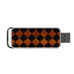 Square2 Black Marble & Brown Burl Wood Portable Usb Flash (two Sides) by trendistuff