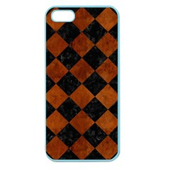 Square2 Black Marble & Brown Burl Wood Apple Seamless Iphone 5 Case (color) by trendistuff