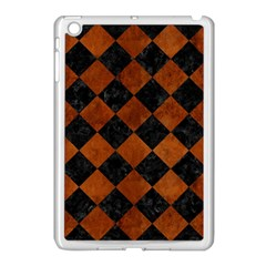 Square2 Black Marble & Brown Burl Wood Apple Ipad Mini Case (white) by trendistuff