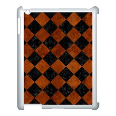 Square2 Black Marble & Brown Burl Wood Apple Ipad 3/4 Case (white) by trendistuff