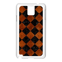 Square2 Black Marble & Brown Burl Wood Samsung Galaxy Note 3 N9005 Case (white) by trendistuff