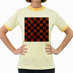 Square1 Black Marble & Brown Burl Wood Women s Fitted Ringer T Shirt