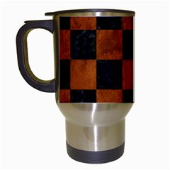 Square1 Black Marble & Brown Burl Wood Travel Mug (white) by trendistuff