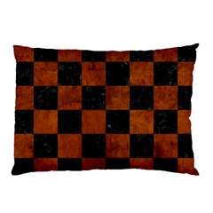Square1 Black Marble & Brown Burl Wood Pillow Case by trendistuff