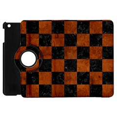 Square1 Black Marble & Brown Burl Wood Apple Ipad Mini Flip 360 Case by trendistuff