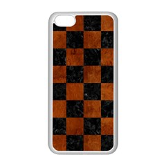 Square1 Black Marble & Brown Burl Wood Apple Iphone 5c Seamless Case (white) by trendistuff