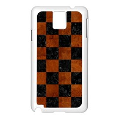 Square1 Black Marble & Brown Burl Wood Samsung Galaxy Note 3 N9005 Case (white) by trendistuff